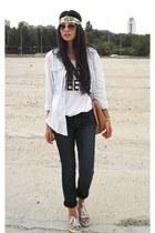 H&M shirt - Topshop jeans - Zara bag - H&M top - H&M sneakers
