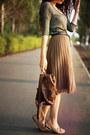 Reserved-skirt-mango-top-mango-belt-ecco-loafers