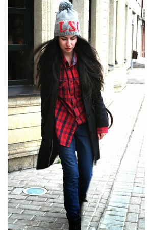 brick red Wrangler shirt - black Yudashkin coat - navy Topshop jeans