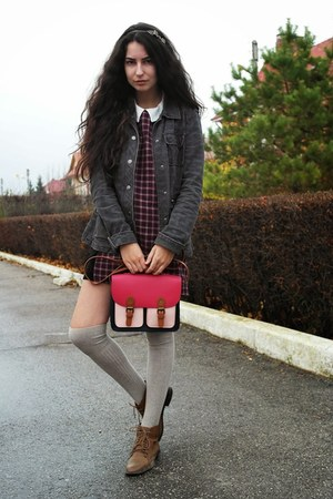 plaid Zara dress - leather pull&bear boots - plaid Sublevel jacket