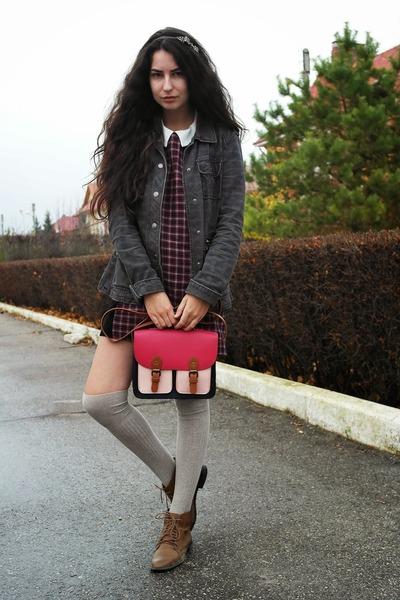 plaid Zara dress - leather pull&bear boots - plaid Sublevel jacket
