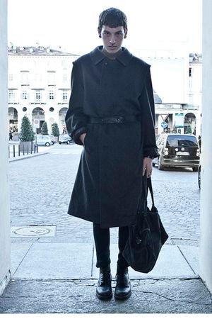 gray vintage coat - black Cheap Monday pants - gold London sunday markets access