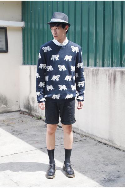 navy Topman sweater - black Dr Martens shoes