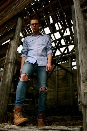 dark brown J Boots boots - navy Mar Co Operative jeans - blue BDG shirt - dark g