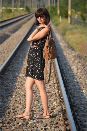 brown reserved bag - black Takko dress - New Yorker sunglasses