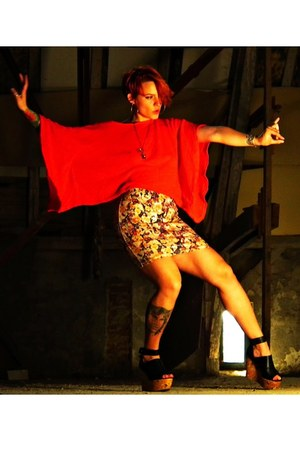 Zara top - pull&bear skirt - H&M flats