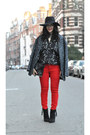 Topshop-boots-primark-coat-red-j-brand-jeans-warehouse-hat