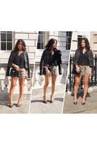black leather vintage jacket - black Zara shirt - vintage bag