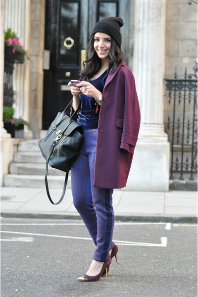 warehouse coat - 31 Phillip Lim bag - velvet H&M top - violet Three Floor pants