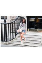 Markus Lupfer sweater - clutch Dolce & Gabbana bag - denim shorts H&M shorts