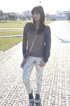 Stradivarius pants - Pepe Jeans bag - Miu Miu sneakers - maison scotch jumper