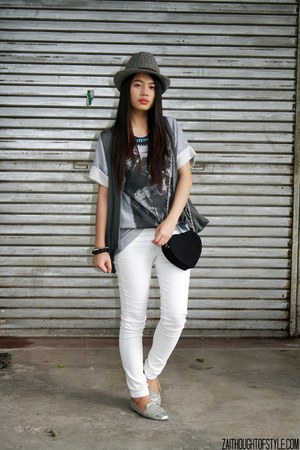 heather gray worn as top WAGW dress - white Mango jeans - heather gray WAGW hat