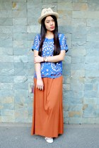 fedora H&M hat - brown maxi H&M skirt - blue cutout WAGW top