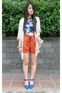 Blue-crop-tangerine-top-oxygen-shorts