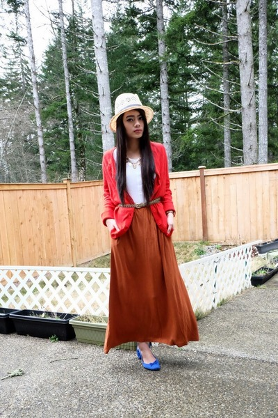 fedora H&M hat - brown maxi H&M skirt - red cashmere blend H&M cardigan
