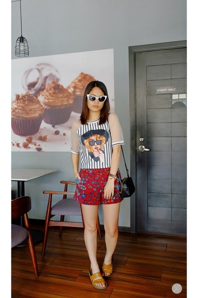Topshop shorts - cat eye zeroUV sunglasses - Get Spotted top