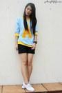 Light-blue-wagw-sweater-black-zara-shorts-white-sneakers-sneakers