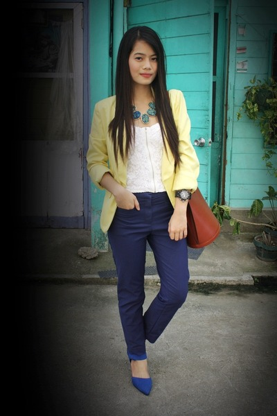 navy trouser H&M pants - yellow cropped WAGW blazer - tan Louis Vuitton bag