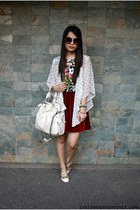 brick red velvet Tangerine skirt - off white Forever 21 bag