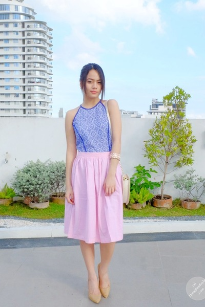 light pink pastel What A Girl Wants skirt - blue worn as top Just G dress