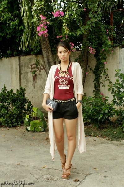 beige long WAGW cardigan - black WAGW bag - black old Zara shorts