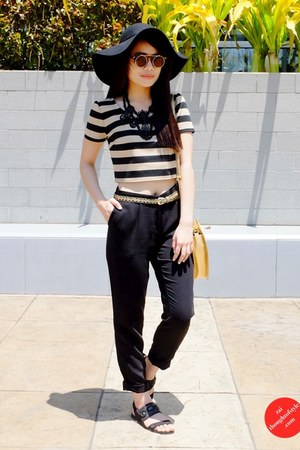 black floppy Topshop hat - gold heart quilted Abby Jocson bag