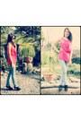 Faded-jeans-vintage-necklace-hot-pink-top-black-heels