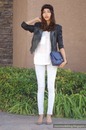skinny blank nyc jeans - leather Topshop jacket - Chanel bag - lizard loeffler r