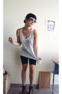 White-top-black-shorts-black-sunglasses-black-shoes