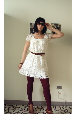 white dress - brown vintage belt - brown RJ Girl shoes - purple Forever 21 tight
