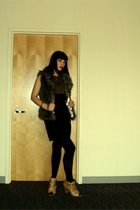 BB Dakota vest - vintage dress - aa tights - Vince Camuto boots