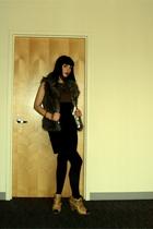BB Dakota vest - vintage dress - aa tights - Vince Camuto boots