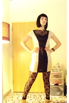 white H&M dress - black H&M leggings - white Loris Shoes earrings - beige Vince