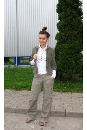 camel cargo reserved pants - dark khaki blazer