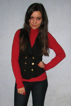 red turtleneck Vero Moda sweater - black thrifted George vest - crimson chandeli