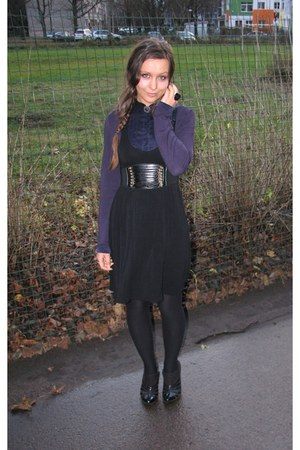 black Charles & Keith boots - black thrifted Cubus dress