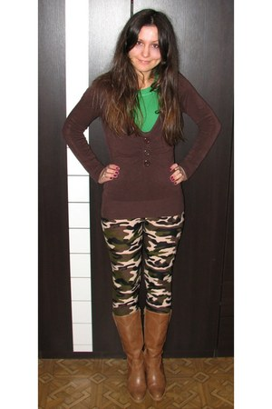 tawny thrifted boots - dark brown Vero Moda sweater - army green camouflage legg