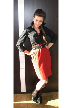 red lindex skirt - black Charles & Keith boots - black thrifted H&M shirt