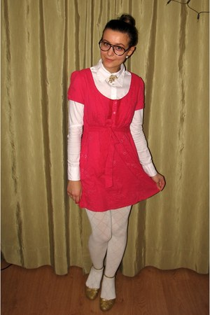 white Vero Moda shirt - hot pink thrifted eyelet dress
