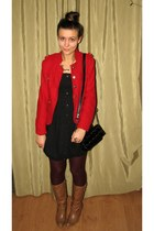 red jacket - tawny thrifted boots - black thrifted bubble Cubus dress