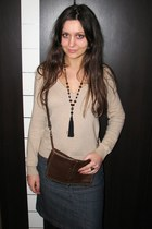 dark brown Mango purse - camel thrifted H&M sweater - navy denim Vero Moda skirt