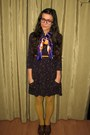 Dark-brown-thrifted-shoes-deep-purple-thrifted-dress-yellow-tights