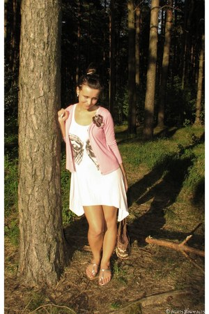 light pink dress - brown straw bag - silver sandals - pink thrifted cardigan - m
