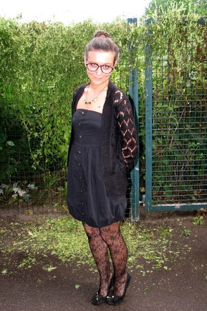 black GINA TRICOT cardigan - black bubble Vero Moda dress - black lace tights