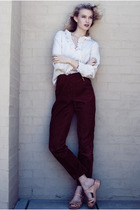 red vintage pants - vintage shirt - Funkis shoes