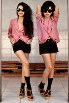pink blazer - black shorts