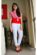 red Datelli heels - asoscom sunglasses - Marisa top - white Zara pants