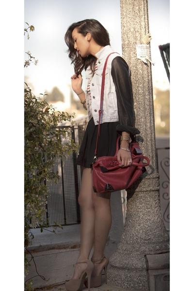 bag - skirt - heels
