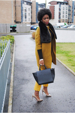 mustard wool COS coat - mustard banana republic pants