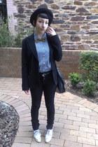 black high waisted jeans - black casual blazer thrifted blazer